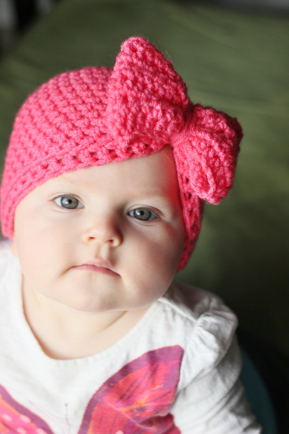 Crochet Hat Pattern For 8 Month Old : Bow Hat Baby girl hat Hat with bow Newborn hat Baby by ...