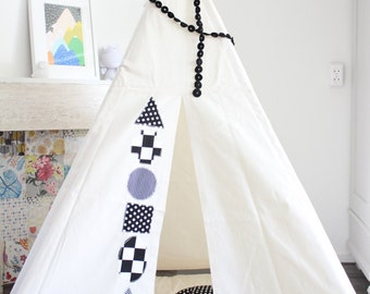 Teepee MIDI size, beautiful play tent, black and white teepee, kids teepee, shapes teepee, tipi, wigwam, childrens tipi, monochrome nursey