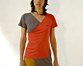 Womens clothing-womens blouse- Asymmetric summer top blouse - Two layers top-Taupe and terracotta  top