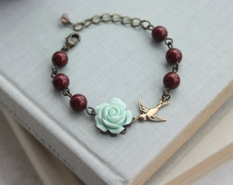 Soft Mint Green Rose Flower, Bourdeux Wine, Dark Garnet Red Pearls, Swallow Bracelet. Bridesmaid Gifts, BFF Gift Ideas, Mint and Red Wedding