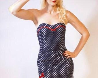 Polka Dot Sailor Dress, Nautical Dress, Strapless Navy Dress, Pin Up Girl Dress, Polka Dot Mini Dress, Anchor Dress, UK Size 6-16/US 2- 12