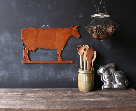 Vintage Wooden Cow Cutout Kitchen Home Decor Wall Hanging From