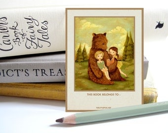 Customized Bookplate - Children's, Personalized Bookplates, Sticker, Label, Teacher, Librarian, Gift, Reader, Reading - The Story Book Bear