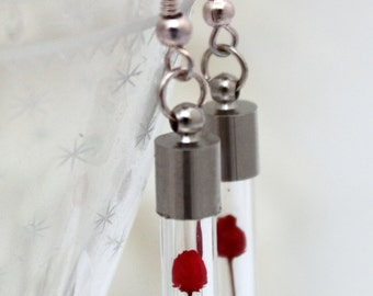Miniature dried red rose glass vial earrings- mini flower vial- Valentines day jewelry