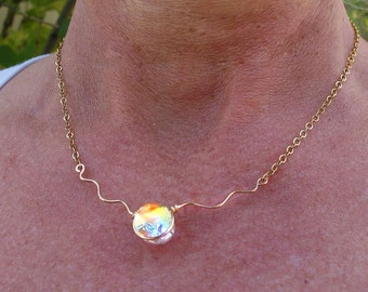 Dichroic Glass Mermaid Tear Choker, Fused Glass Necklace in Translucent Tropical Cha Cha Warm Colors, Dainty, Delicate, Golden Glass