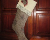 CLEARANCE Designer fabric Stocking, Christmas, Holiday decoration, neutral tones