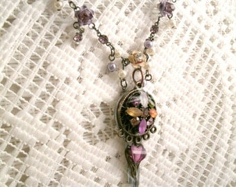 Vintage Key Necklace with  Repurposed glass Gem Stone colored glass and Rhinestones and Decorative matching chain