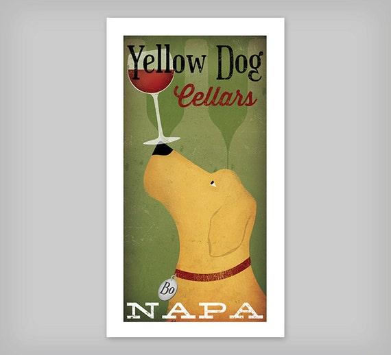 CUSTOM Personalized Black Brown Yellow Dog Labrador Cellars Vineyard Wine Company graphic art print Signed