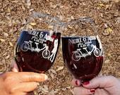 Tandem Bicycle Wedding Theme, Guest Favors, Wine Glasses / Autumn Wedding / Reception Decor / Table Setting / Fall Wedding Decor