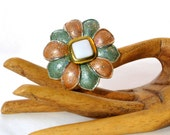 Flower Brooch Pin Aqua Salmon Resin Glitter Vintage 80s Floral Costume Jewelry