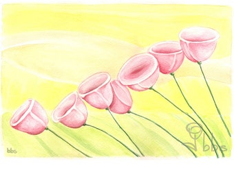 pink flowers watercolor painting, original botanical artwork, yellow and pink flower decor