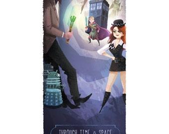 Dr. Who Montage   Fine Art Print   Matt Smith, Eleventh Doctor, Amy Pond, Rory, TARDIS, Dalek   Flimflammery