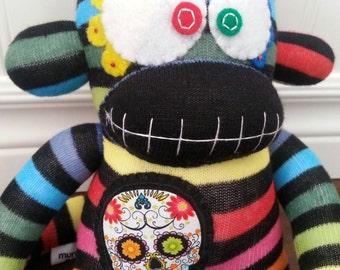 Rainbow Sugar Skull sock monkey