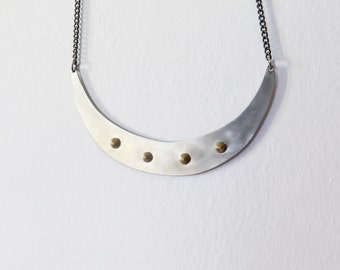 Spiky Moon // Statement Necklace with 4 gold cones