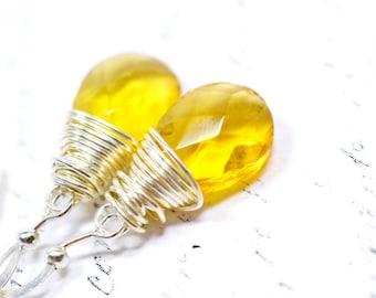 Sunny Yellow Earrings, Wire Wrapped Teardrop Earrings, Honey Yellow Dangle Earrings, Simple Fashion Jewelry, Sunshine Yellow Earrings
