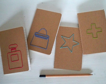 Moleskine type Notebook with embroidery, A6, kraft cover, ruled