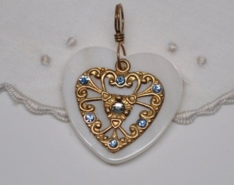 Mother of Pearl Heart Pendants Charms Azure Blue Rhinestones Brass Filigree Gold Toned