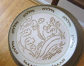 3 Yamaka Candlewick Stoneware Dinner Plates Japan Beige Brown Cream Billowy Clouds Trees Scenic Midcentury Modern