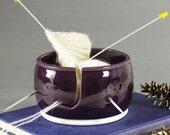 Yarn bowl Knitting Bowl eggplant purple large ceramic pottery yarn holder organizer storage mothers day gift BlueRoomPottery SHIPS IN 3 DAYS