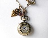 Pocket Watch Necklace Art Nouveau Victorian Watch Locket Pendant Flower Leaf Charm Birthday Anniversary Wedding Women Valentine Gift for her