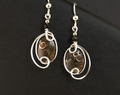 Turritella Fossil Agate Sterling Silver Brown Drop Earrings, Brown Wire Wrapped Asymmetrical Earrings