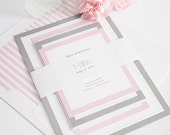 Ombre Wedding Invitation - Modern, Pink, Gray, Bold, Contemporary  - Modern Initials Wedding Invitation - Sample Set