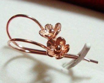 4 pcs, 22x12 mm, Handmade 18k Rose Gold over 925 Sterling Silver Ear wires, Lotus Flowers, EW-0015