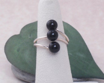 Ring Sterling Silver Black Onyx Triple Stone Contemporary Minimalist Adjustable Ring