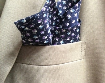 Perry - Navy/Purple Floral Pocket Square