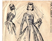 1950s Wedding Dress Pattern Rare McCall's 4358 Bridal Gown with Train Vintage Sewing Pattern Size 14 Bust 34 inches
