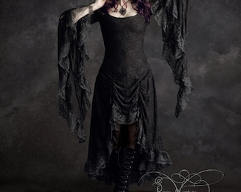 Cassiel Fairy Tale Romantic Gothic Vampire Dress in Lace - Handmade Bespoke Custom Made Dark Romantic Couture by Rose Mortem