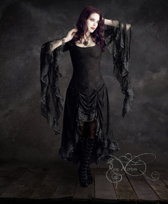 Cassiel Romantic Gothic Lace Dress