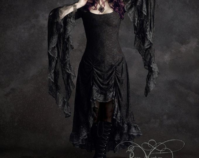 Cassiel Fairy Tale Romantic Gothic Wedding Dress in Lace - Handmade Bespoke Elegant Goth Renaissance Steampunk Vampire Period-Inspired