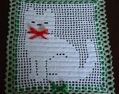 Crochet Needle Arts Crafts Kitty Cat Shiny Doily