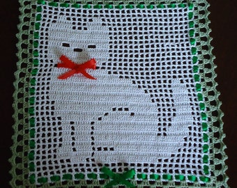 Free Shipping Crochet Needle Arts Crafts Kitty Cat Shiny Doily