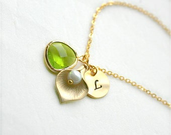 Gold Calla Lily with Personalized Initial and Birthstone Necklace, August Peridot Necklace, Bridesmaid Jwelry, Monogram Jewelry, Gold Filled
