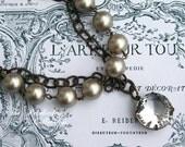 Perle und Kristall Halskette, Estate Stil Halskette, Halskette