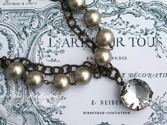 Pearl and Crystal Necklace, Estate Style Necklace, Statement Necklace