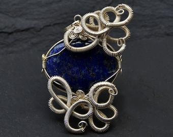 Victorian Pendant, Lapis Lazuli Pendant, Blue Lapis Pendant, Wire Wrapped Pendant, Blue Lapis Necklace, Vintage Inspired Pendant