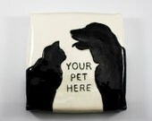 Pet Portrait Art Tile | personalized customized ceramic wall tile created from your photo | custom art pet animal dog cat lover gift idea