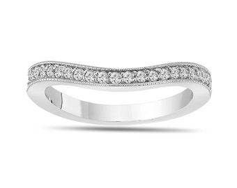 Wedding & Anniversary Diamond Curve Band 14K White Gold  0.23 Carat Pave Set
