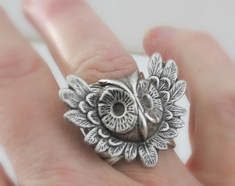 Owl Ring - Statement Ring - Vintage Ring - Silver Ring - Adjustable Ring - Trending Ring - Nature Jewelry - handmade jewelry