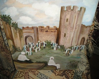 Unique Fortress/Medieval Castle Arabic Gathering Vintage Oil /Outsideron Wall Art Panel Artist signed