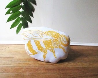 Honeybee Shaped Animal Pillow. Insect Plushie. Hand Woodblock Printed. Choose Any Color. Made to order.