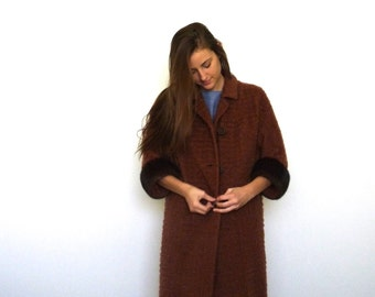 50s Cocoa Brick Boucle Fur Trim Oversized Cocoon Coat s m l