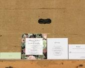 Midnight Romance Botanical Wedding Invitation,Rustic Floral Wedding Invitation,Modern Botanical Wedding Invitation,Black Floral Invites