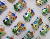 OWL PENDANTS - lot of 25 Colorful Cloisonne - Animal Bird Halloween