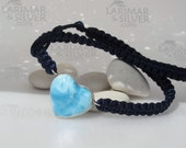 Larimar necklace, Love is in the Air - cloudy sky blue Larimar hearts, blue heart necklace, macrame necklace, love stone, handmade necklace