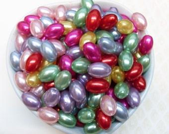 50x 12mm Acrylic Pearl Beads Barrel Shaped