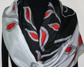 Silk Scarf Hand Painted Silk Shawl Black Grey Red Hand Dyed Silk Scarf TENDER IS The NIGHT Large14x72 Birthday Gift Scarf Gift-Wrapped Scarf